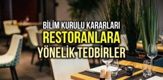 Restoranlar için uyarı: Masalar arası mesafe en az 1 metre olacak! BİLİM KURULU