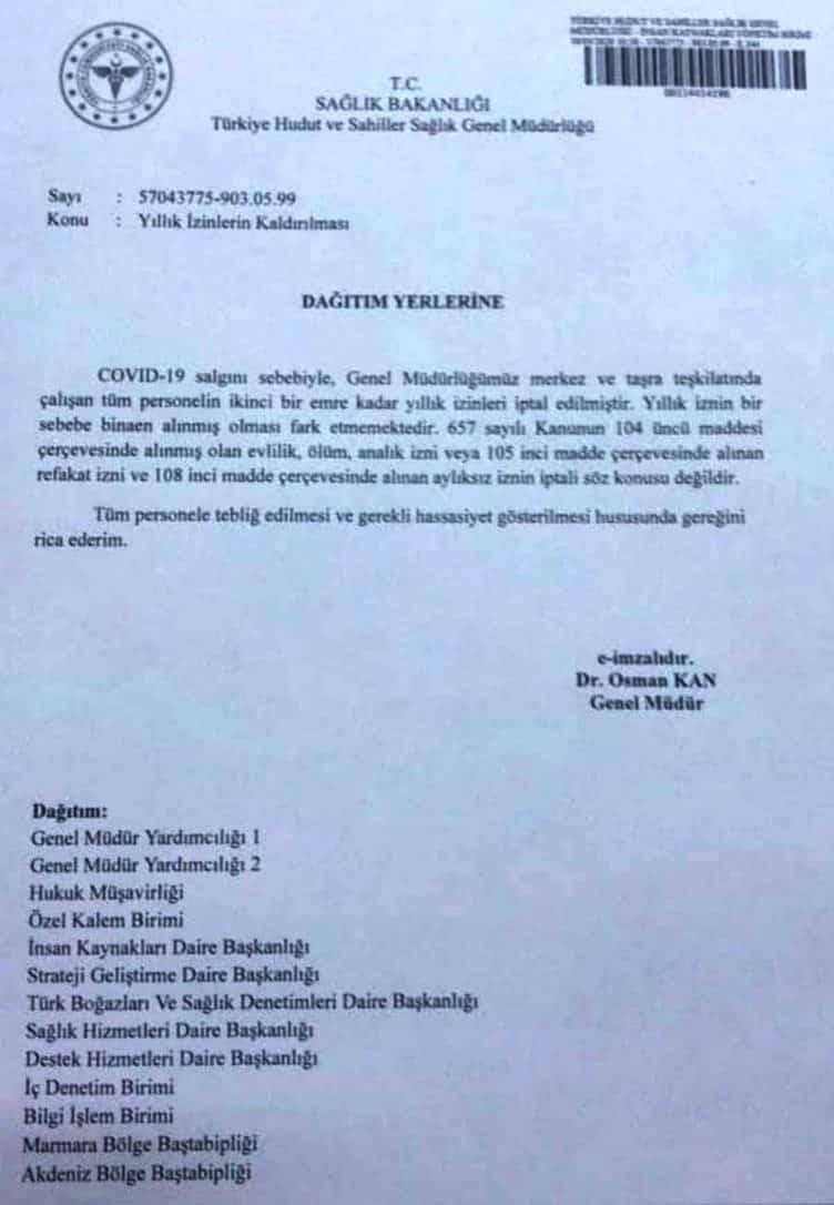 Sağlık Bakanlığı tüm personelin izinleri durduruldu!
