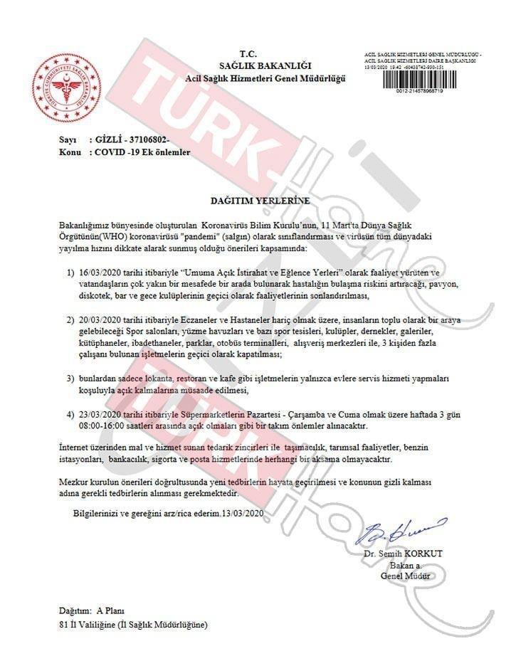 sahte belge gizli belge corona virüsü tüm işletmeler kapatılacak iddiası yalanlandı