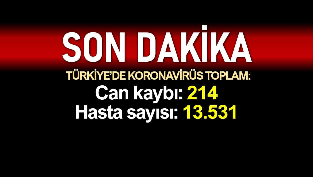 Türkiye de corona ölüm sayısı 214 e, vaka sayısı 13531 e yükseldi