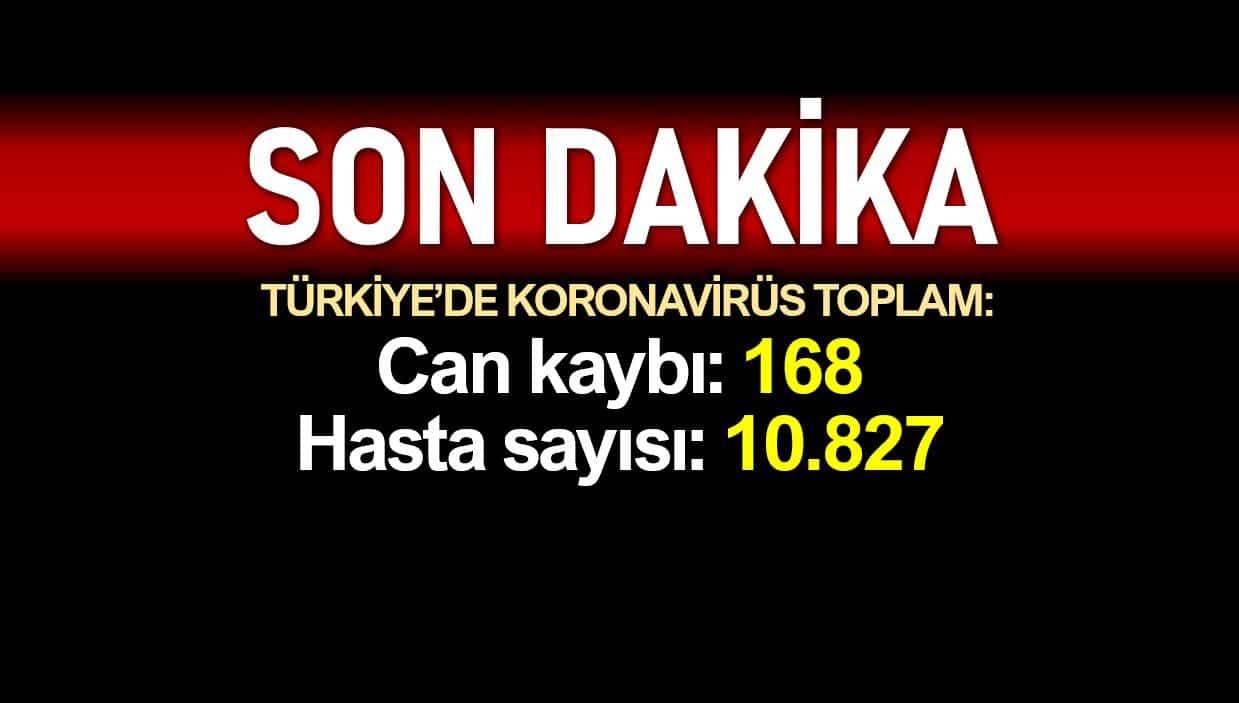Türkiye de coronadan ölüm sayısı 168 e, vaka sayısı 10827 ye yükseldi
