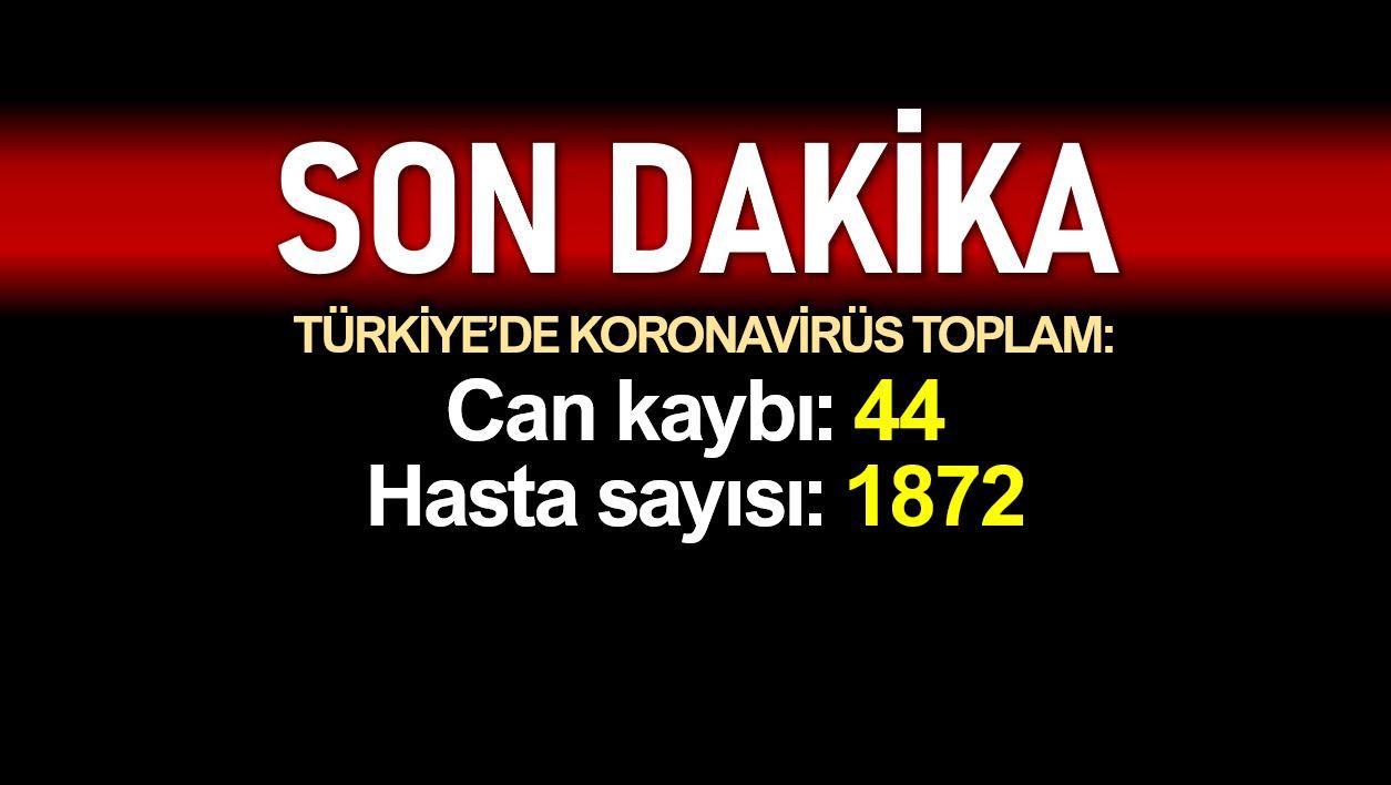 Türkiye de corona salgınında son durum: Toplam ölüm sayısı 44, hasta 1872