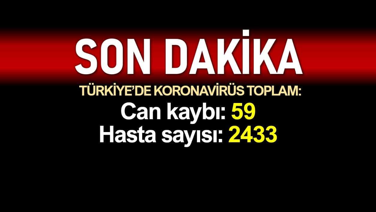 Türkiye de corona son durum: Toplam ölüm sayısı 59, hasta 2433