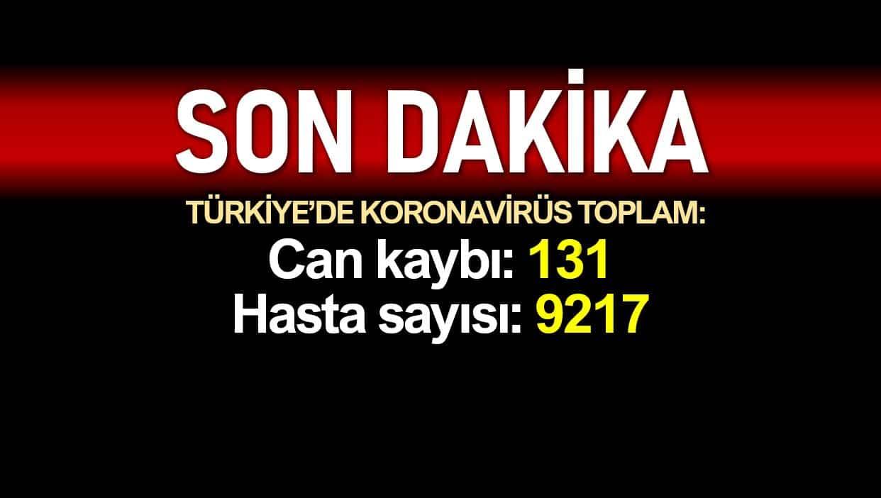 Türkiye corona toplam ölüm sayısı 131 e, vaka sayısı 9217 ye yükseldi
