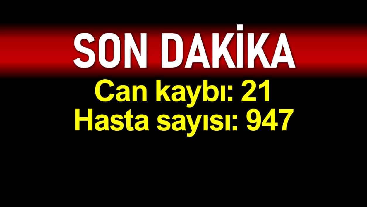 Türkiye coronadan ölüm sayısı 21 hasta sayısı 947 ye yükseldi