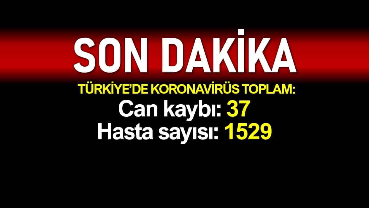 Türkiye de corona nedeniyle toplam ölüm sayısı 37, hasta 1529