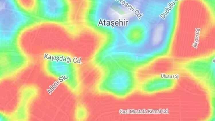 Ataşehir İstanbul ilçe ilçe corona virüsü yoğunluk haritası koronavirüs