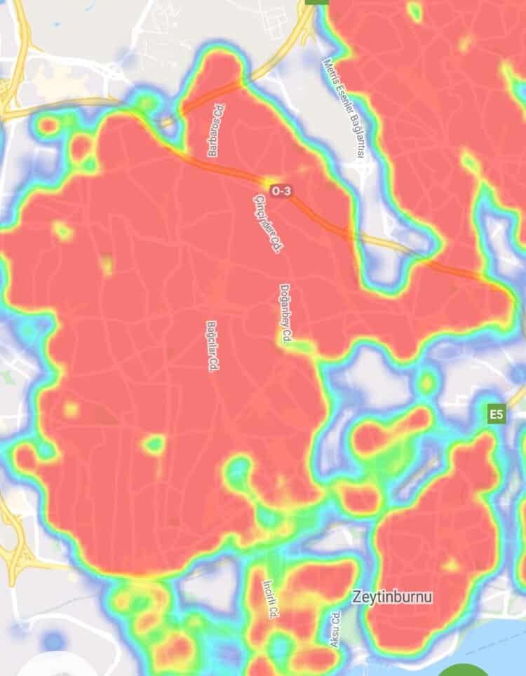 bağcılar corona virüs yoğunluk haritası