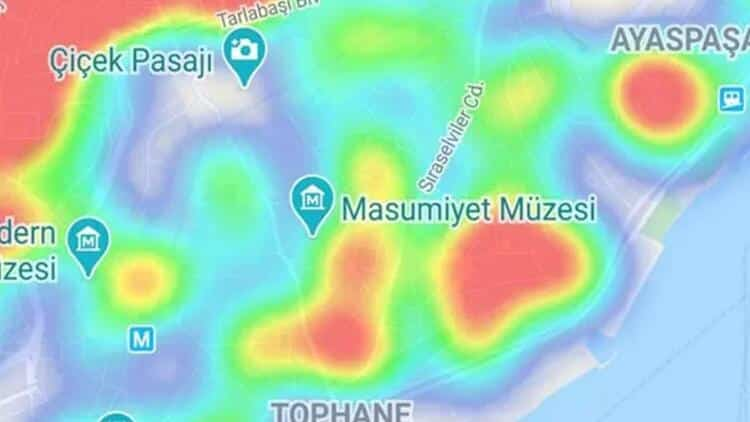 beyoğlu İstanbul ilçe ilçe corona virüsü yoğunluk haritası