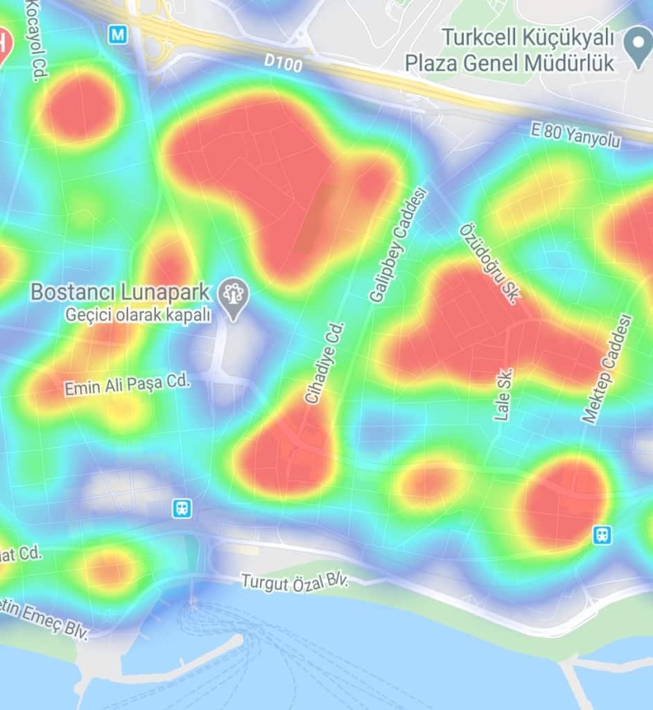 Bostancı - Suadiye - Bağdat Caddesi İstanbul ilçe ilçe corona virüsü yoğunluk haritası