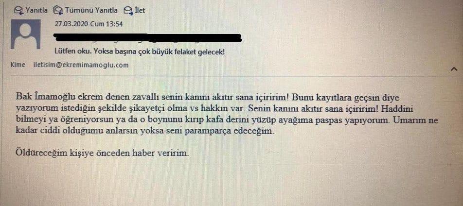 ekrem imamoğlu tehdit e-posta