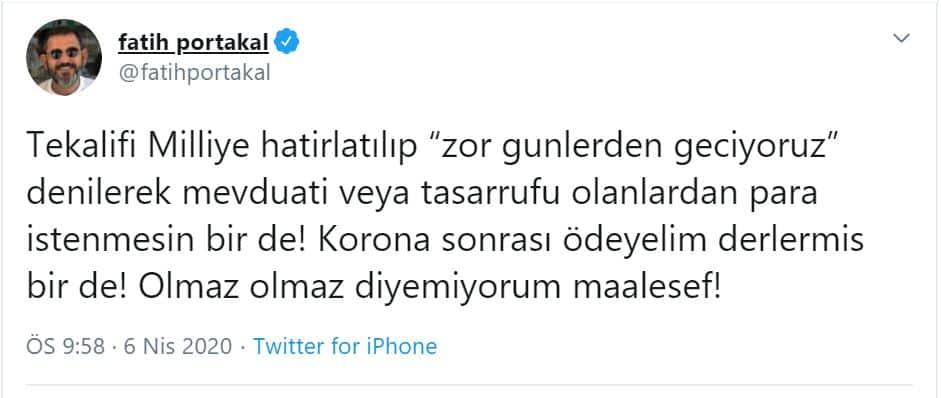 fatih portakal tekalifi milliye erdoğan suç duyurusu