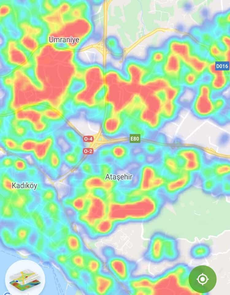 Kadıköy - Ataşehir - Ümraniye koronavirüs yoğunluk haritası corona
