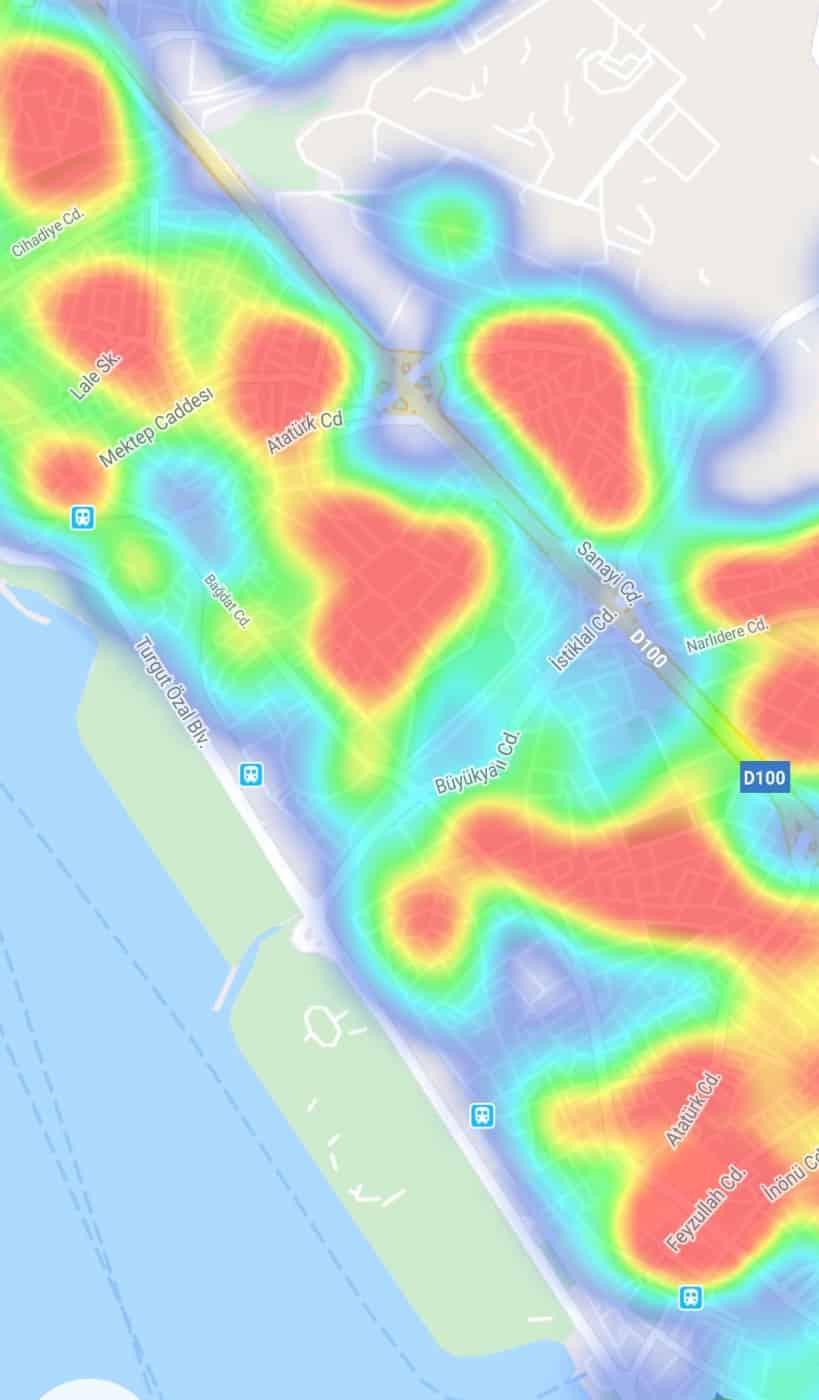 maltepe ilçesi koronavirüs corona yoğunluk haritası