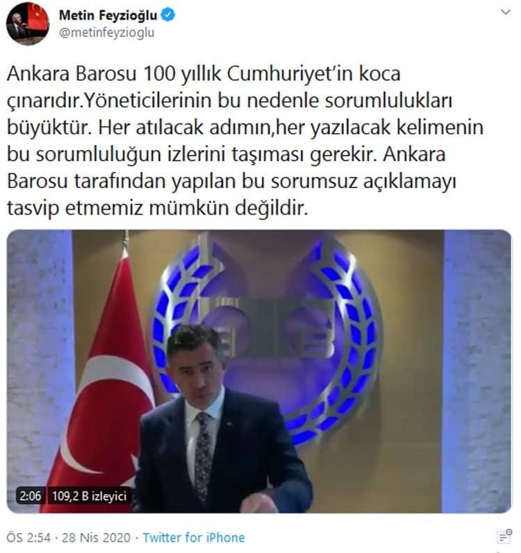 metin feyzioğlu twitter ankara barosu diyanet eşcinsellik