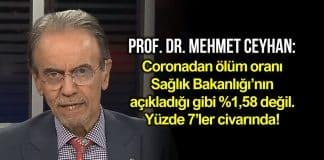 Prof. Dr. Mehmet Ceyhan: Corona ölüm oranı yüzde 1,58 değil, yüzde 7 civarında
