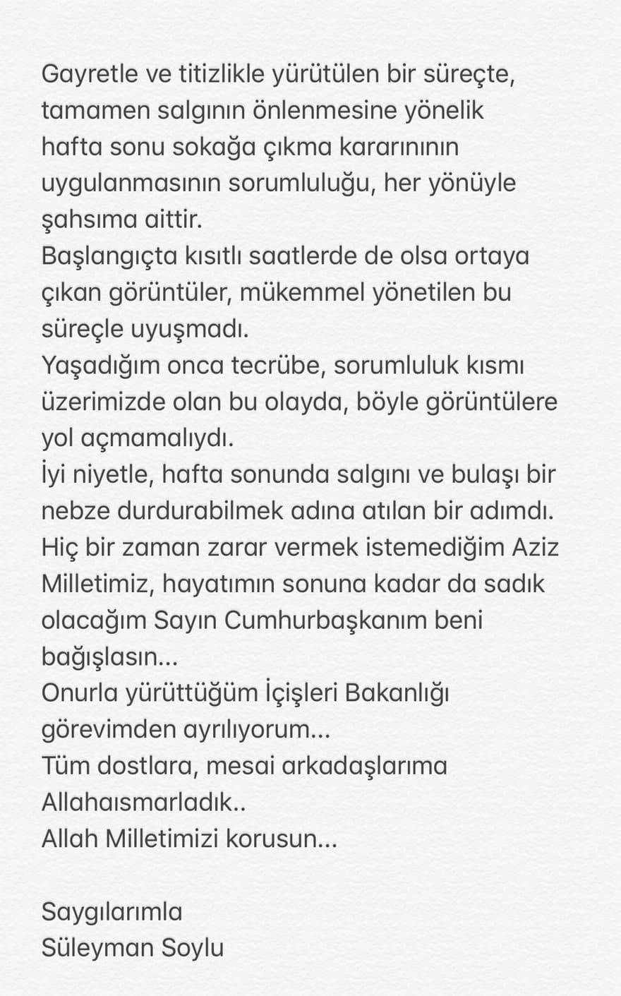 Süleyman Soylu şu mesajı paylaşarak görevinden ayrıldığını duyurdu istifa