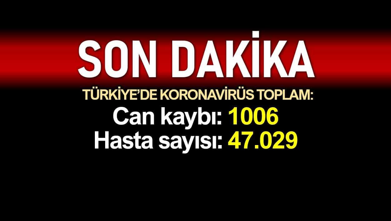 Türkiye corona verileri: Ölüm sayısı 1006 ya, vaka sayısı 47.029 a yükseldi