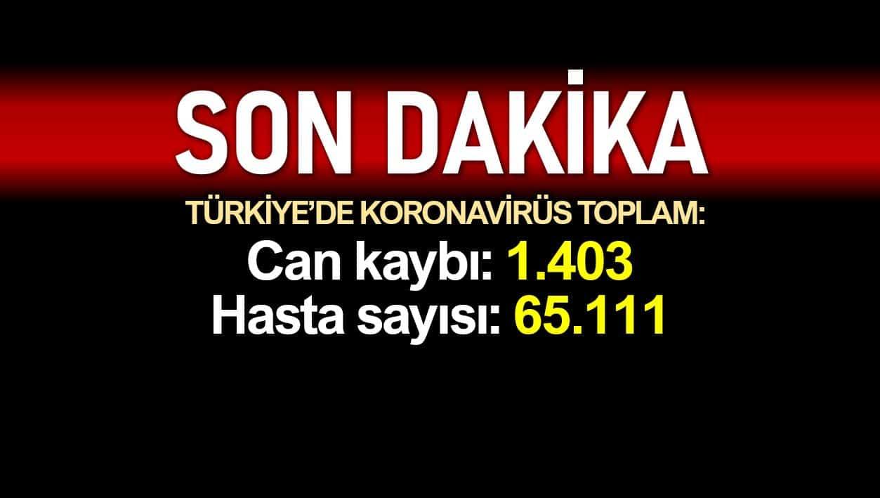 Türkiye corona verileri 14 nisan Ölüm sayısı 1403 e, vaka sayısı 65111 e yükseldi