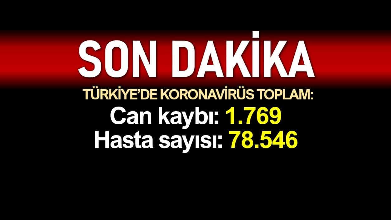 Türkiye corona verileri: Ölüm sayısı 1769'a, vaka sayısı 78546'ya yükseldi