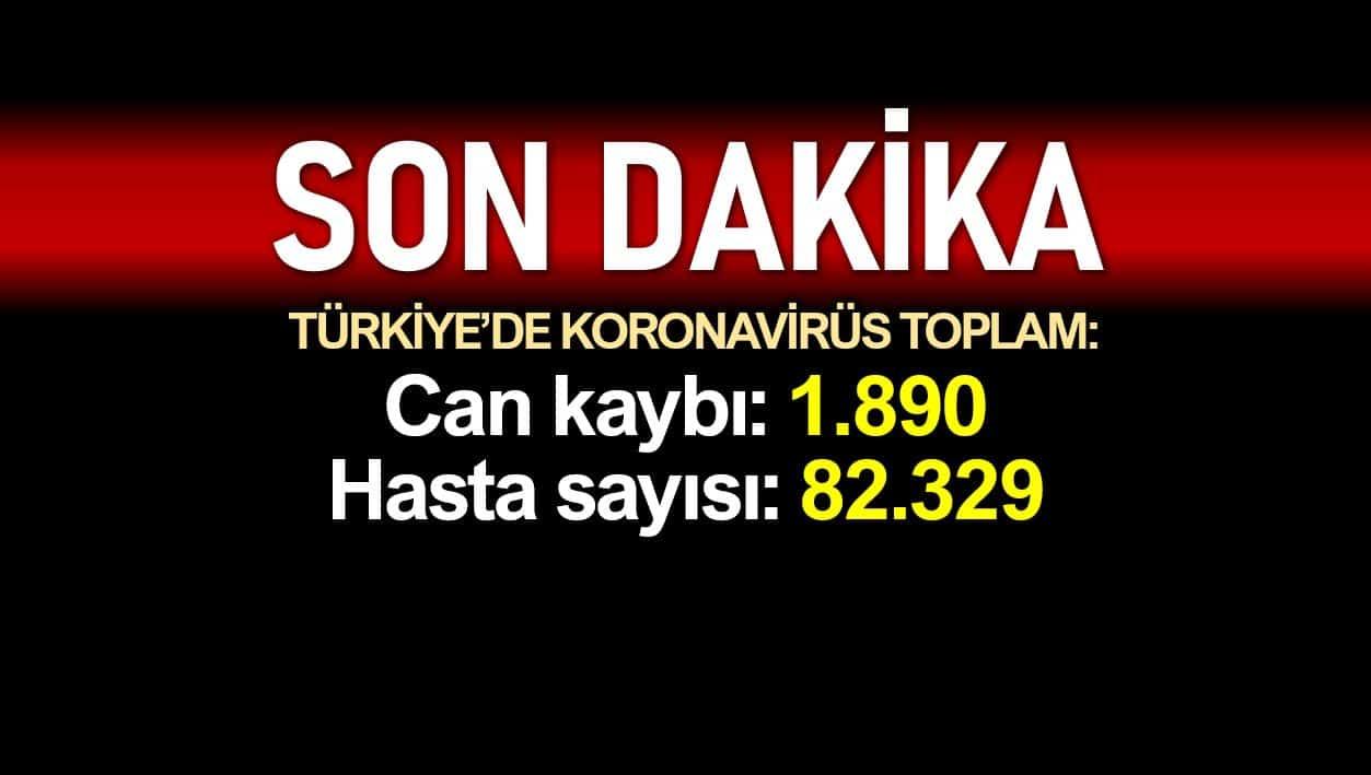 Türkiye corona verileri: Ölüm sayısı 1890'a, vaka sayısı 82329'a yükseldi
