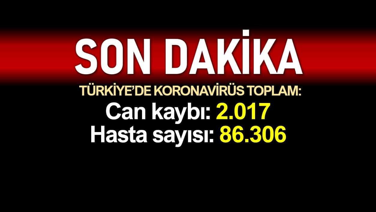Türkiye corona verileri: Ölüm sayısı 2017'ye, vaka sayısı 86306'ya yükseldi