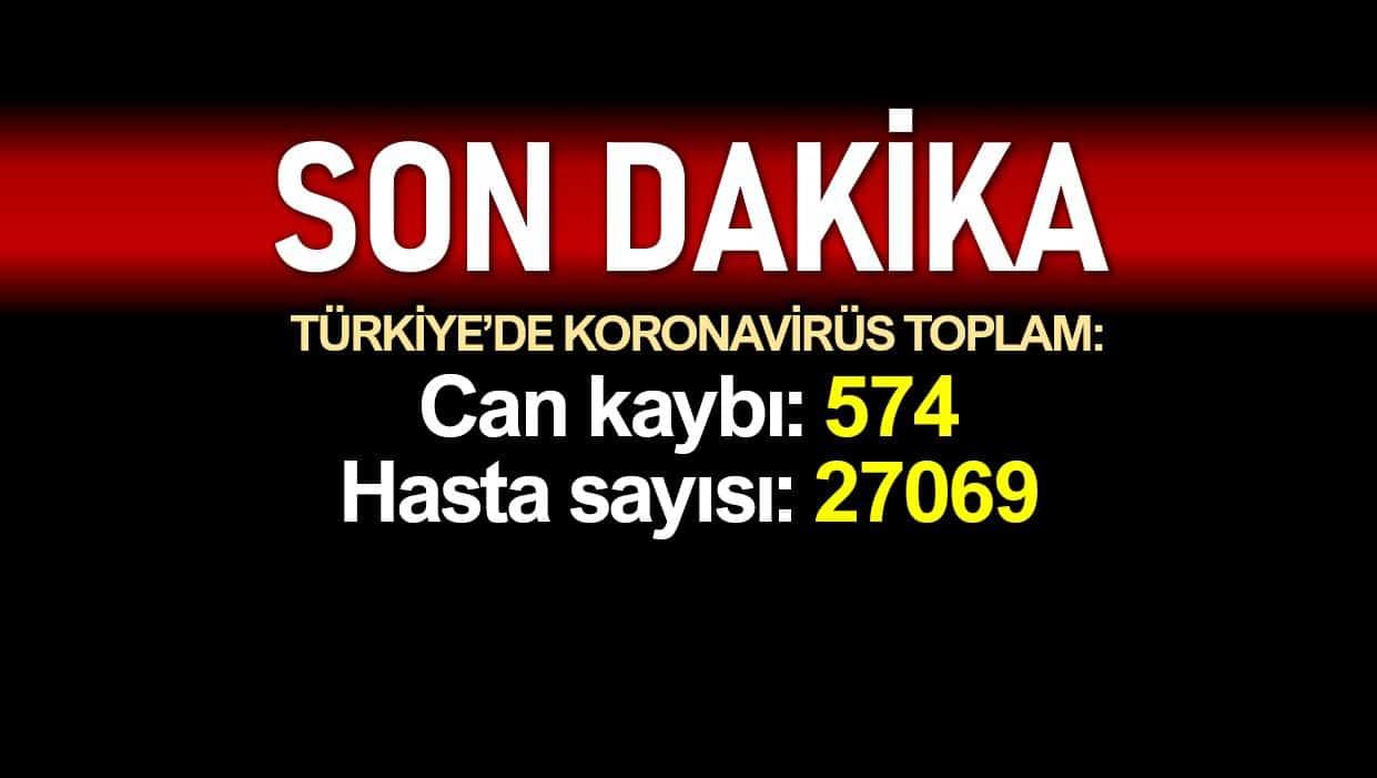 Türkiye corona verileri: Ölüm sayısı 574, vaka sayısı 27069 yükseldi