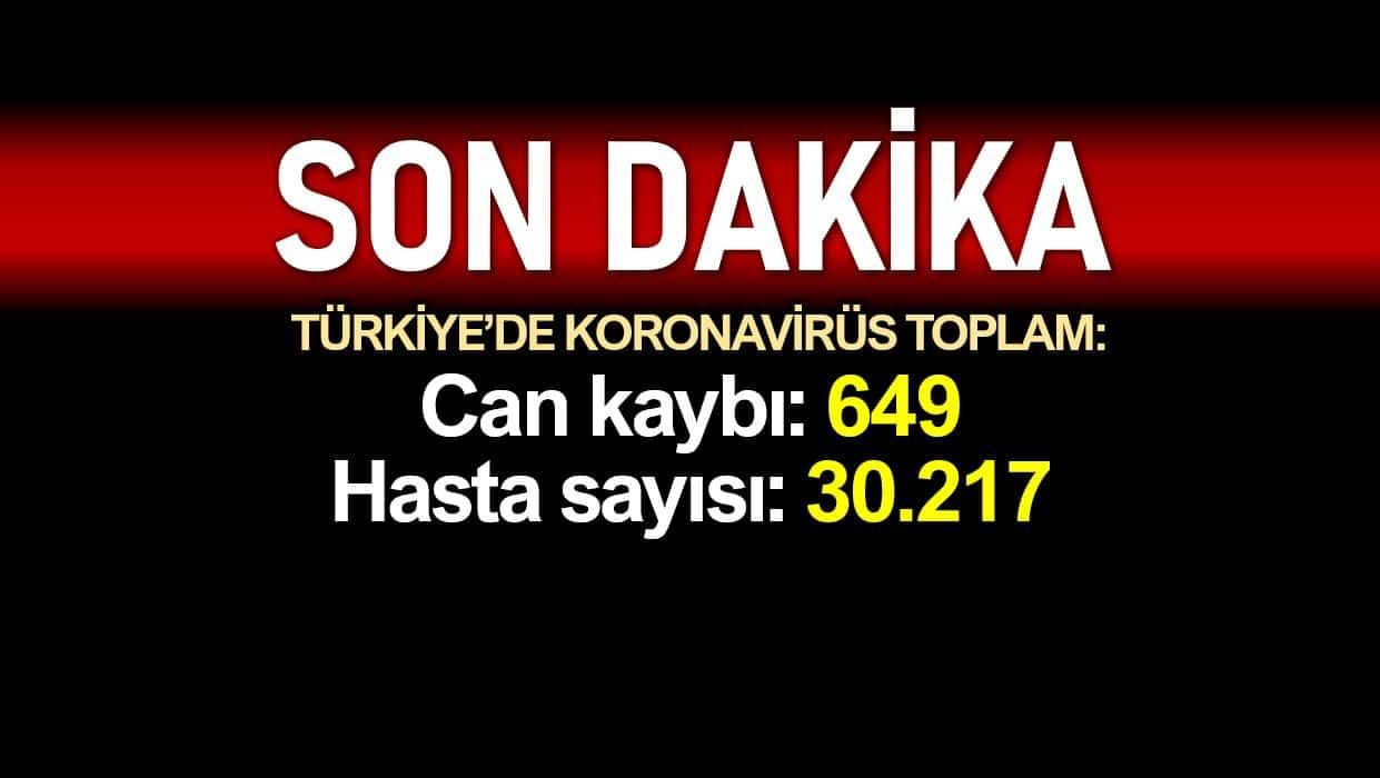 Türkiye corona verileri: Ölüm sayısı 649 vaka sayısı 30217 ye yükseldi