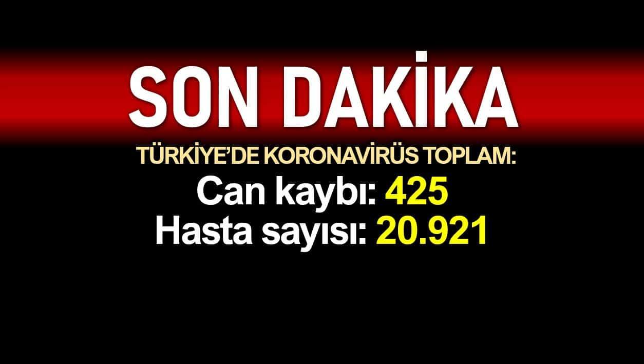 Türkiye corona ölüm sayısı 425, vaka sayısı 20921 yükseldi