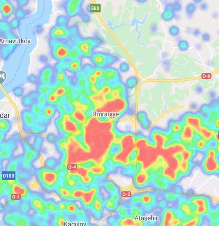 Ümraniye İstanbul ilçe ilçe corona virüsü yoğunluk haritası