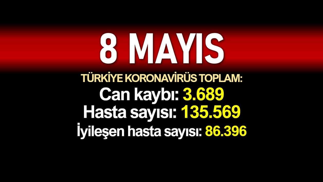8 Mayıs Türkiye koronavirüs verileri:3.689 ölüm, 135.569 vaka