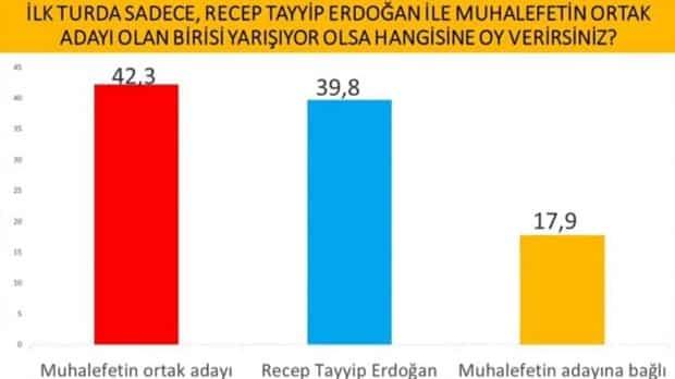 İlk turda sadece Recep Tayyip Erdoğan ile muhalefetin ortak adayı olan birisi yarışıyor olsa hangisine oy verirsiniz?