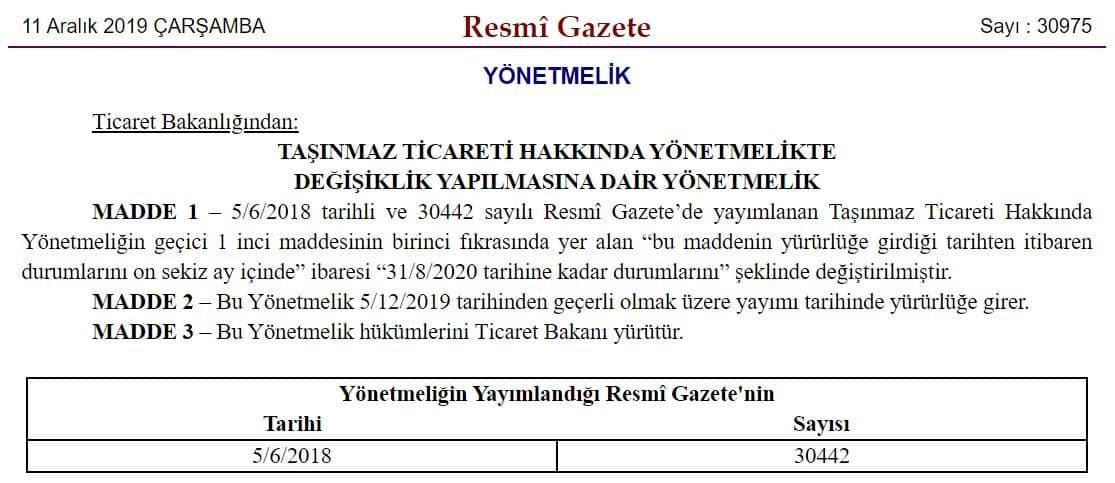 Resmi gazete sahibinden kiralık satılık ilan cezası yetki belgesi yönetmelik