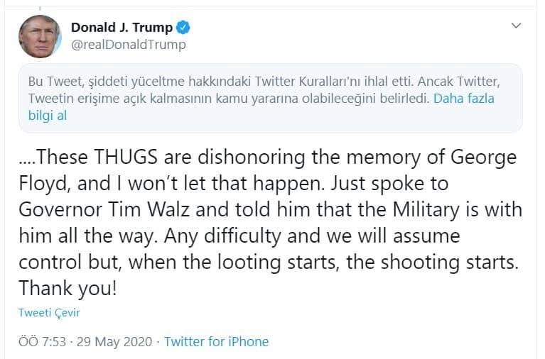 Trump twitter flagged bayraklanan paylaşımı