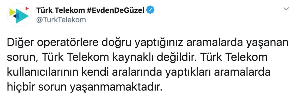 Türk Telekom ulaşılamıyor şebeke sorunu