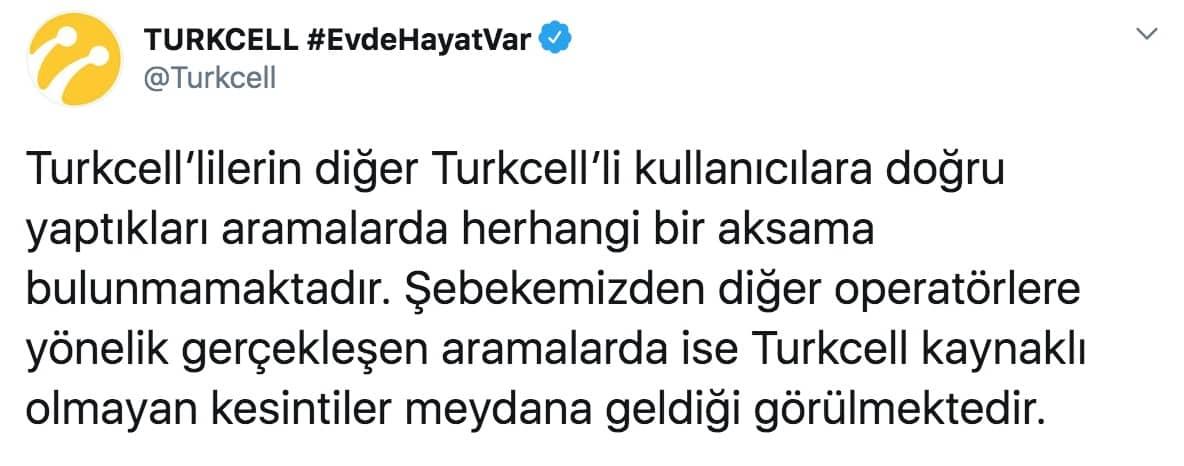 Turkcell ulaşılamıyor gsm operatörleri