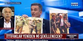 habertürk Canlı yayında PKK gerilimi: İYİ Partili ümit Dikbayır doğu Perinçek öcalan fotoğrafları