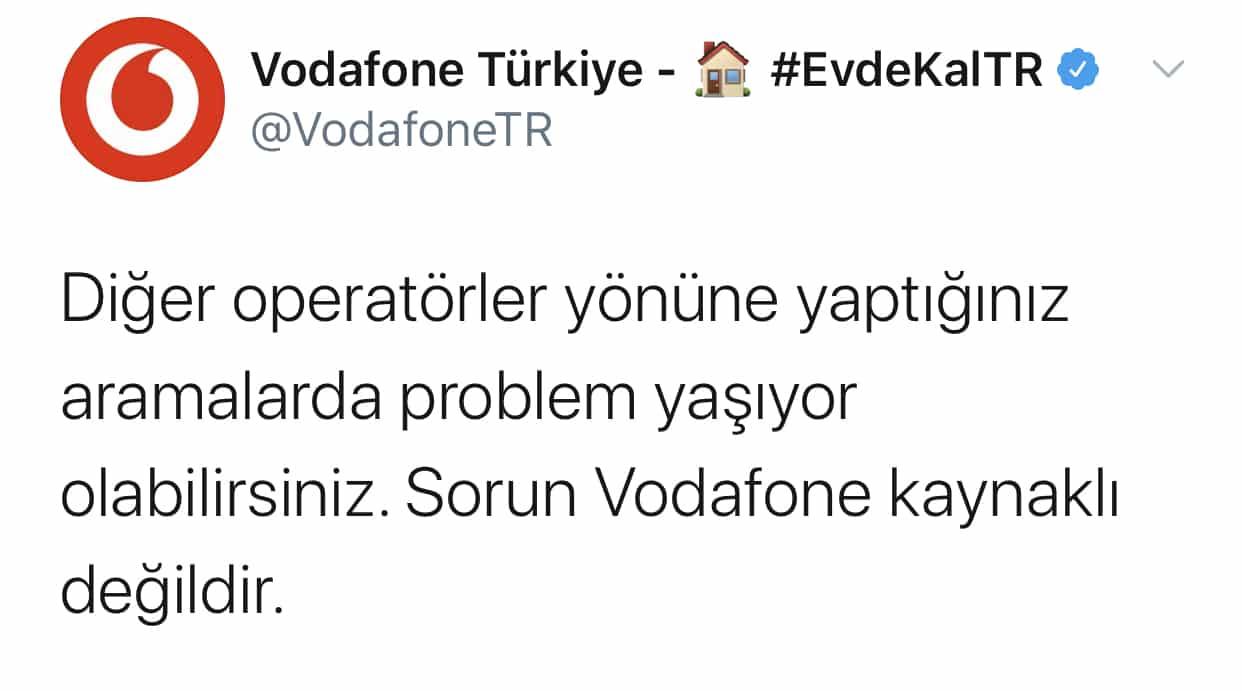 Vodafone ulaşılamıyor