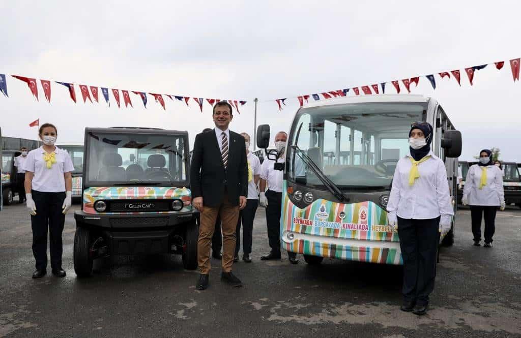 60 elektrikli araç tanıtımı İBB Başkanı Ekrem İmamoğlu tarafından Büyükada da yapıldı