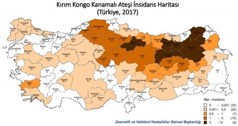 Harita. KKKA açısından endemik bölgeler. kırım kongo kanamalı ateş iller şehirler türkiye