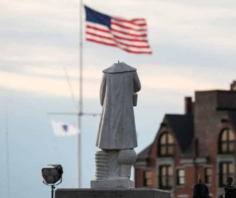 abd kristof kolomb heykeli yıkıldı devrildi