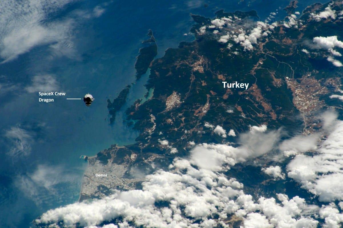 NASA Türkiye paylaşımı: Crew Dragon Demre Antalya