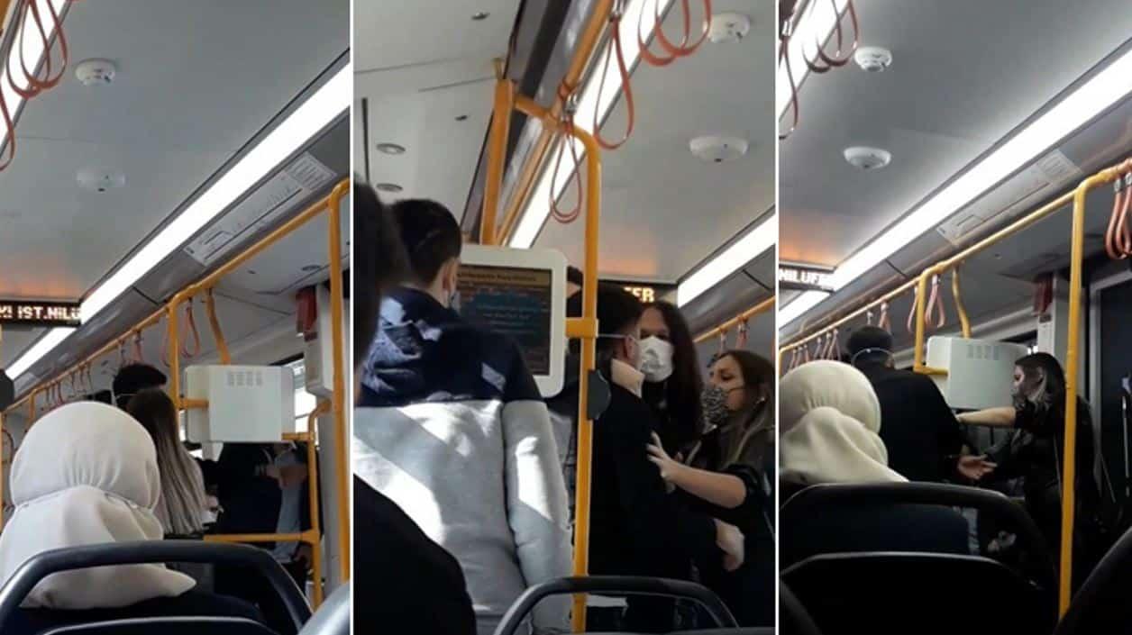 bursa metroda sarılan sevgililere