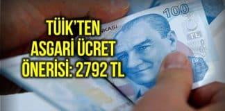 TÜİK asgari ücret önerisini açıkladı: 2792 lira