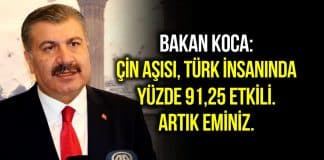 Fahrettin Koca: Çin aşısı Türk insanında yüzde 91,25 etkili