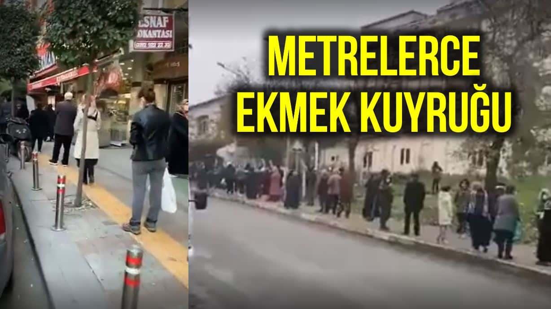 İstanbul Halk Ekmek büfesi önünde metrelerce kuyruk!