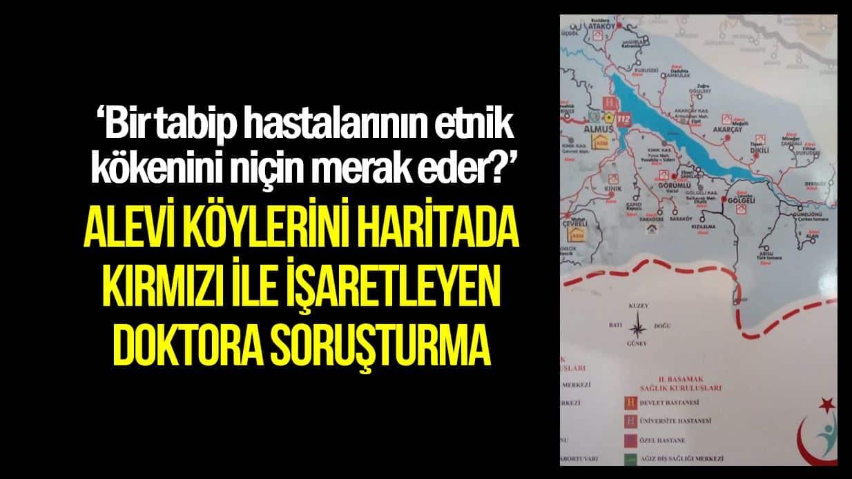 Alevi köylerinin işaretlendiği haritayla ilgili bir doktora soruşturma