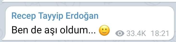 erdoğan ben de aşı oldum