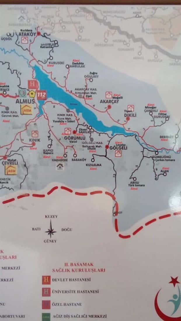 Alevi köylerinin kırmızı ile işaretlendiği o harita: