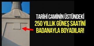 Kısıklı Abdullahağa Camisi minaresindeki 250 yıllık güneş saatini badanayla boyadılar!